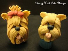 Yorkie Cake Toppers ©Krazy Kool Cake Designs.  My daughter will love this.