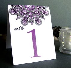 Ethnic Colorful Table Numbers - from BRIDES magazine - Stargaze Table Cards - Sample Card Table Wedding, Wedding Table Flowers, Wedding Cards, Wedding Invitations, Invites, Wedding Stuff, Dream Wedding, Disney Centerpieces, Table Centerpieces