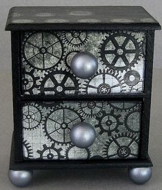Steampunk Gears Chest Organizer by funkyart08 on Etsy, $29.00
