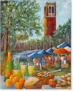 Tailgating in the Swamp at University of Florida. Painting depicting Florida Gators Tailgating Through the SEC by artist, Kathy Miller available as fine art giclees framed or unframed, and premium quality poster prints for sale. University Of Florida, Florida Gators, Tailgating, Prints For Sale, Gator Football, College Football, Buy Art, Original Paintings, Poster Prints
