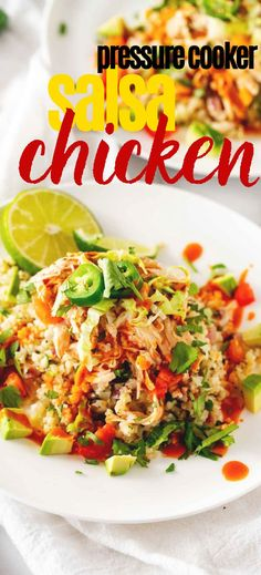 Looking for a quick and easy dinner recipe that is perfect for your keto diet? You are going to love this Creamy Pressure Cooker Salsa Chicken Recipe. This low carb recipe is so easy to make with just a handful of ingredients - including cream cheese! The perfect meal prep recipe to use for tacos and bowls. Low Carb Chicken Recipes, Keto Chicken, Low Carb Recipes, Real Food Recipes, Easy Dinner Recipes, Easy Meals, Keto Broccoli Cheese Soup, Dump Meals, Salsa Chicken