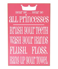 Love this Pink & White' Princess' Bathroom Rules Wall Art by Vinyl Crafts on #zulily! #zulilyfinds