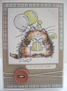 "Penny Black Birthday Kitty critter card.  Stamp is ""Life of the Party""/Bubbly set."