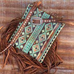 Tan Aztec Cross Body Handbag with Multicolor Dots and Fringe by Running Roan Tack