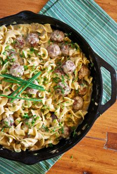 Skillet Meatballs and Noodles in Creamy Herb Sauce