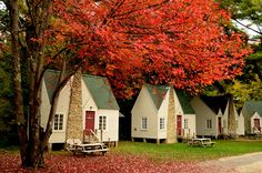 Cabins nestles in New Hampshire's White mountains.