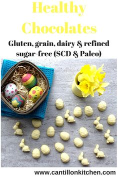 Healthy Easter Chocolates - How to make healthy and delicious white chocolates. Free from: gluten, grains, dairy and refined sugar. Easter Chocolate, Healthy Chocolate, White Chocolate, Thanksgiving Recipes, Holiday Recipes, Chocolates, Easter Eggs, Paleo, Coconut