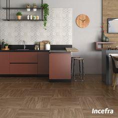 Destaque sua cozinha utilizando revestimentos com relevos. Misturado com cores e objetos geométricos, o espaço fica super contemporâneo e moderno! Ref. HD-36160 | 32,5x56,5 | Acetinado  #Incefra #GrupoFragnani #ceramica #decoracao #relevo #parede #cozinha #cor #geometrico #contemporaneo #moderno #kitchen #revestimento