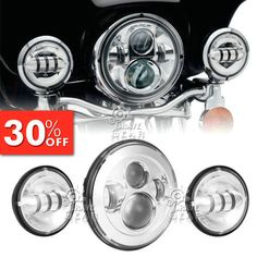 "10161 motorcycle-parts 7"" Chrome LED Projector Daymaker Headlight + Passing Lights For Harley Touring  BUY IT NOW ONLY  $199.65 7"" Chrome LED Projector Daymaker Headlight + Passing Lights For Harley Touring..."