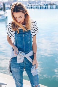 stripe tee and overalls - beachy coastal fall look