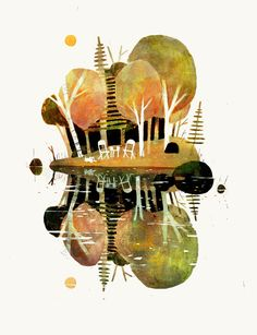 "Want to try my own ""mirror image"" art with watercolors or acrylics (this one's by artist Jon Klassen)..."