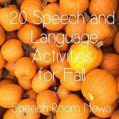 Speech Room News: Fall 2013 RoundUp! Repinned by @Progressus Therapy. Follow our boards for more tips, activities, and inspiration.