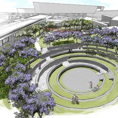In the second phase of St. Nicholas School, the terrain topography favored the creation . - In the second phase of St. Nicholas School, the terrain topography favored the creation of … - Landscape Design Plans, Landscape Architecture Design, Architecture Graphics, Urban Landscape, Architecture Details, Cultural Architecture, Landscape Drawings, Cool Landscapes, Parking Design