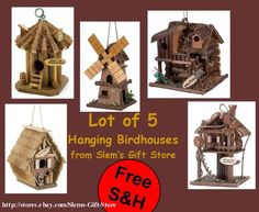 LOT OF 5 BIRDHOUSES INDOOR OUTDOOR YARD DECOR COLLECTION YARD BIRD BIRDHOUSE $49.95 Free Shipping http://stores.ebay.com/Slems-Gift-Store *OR* order directly from me at dslem3@yahoo.com and receive 20% off any item in the store!