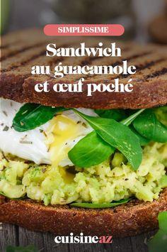 Une recette facile de sandwich maison au guacamole et œuf poché. #recette#cuisine #sandwich #avocat #oeuf #guacamole