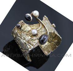Braclet | Rachel Gera. Sterling silver, onyx, garnet, pearls and gold wash. ca. 1950s/60s, Israel