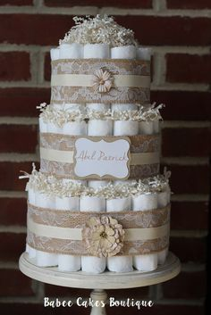 3 Tier Shabby Diaper Cake Pink Burlap and by BabeeCakesBoutique