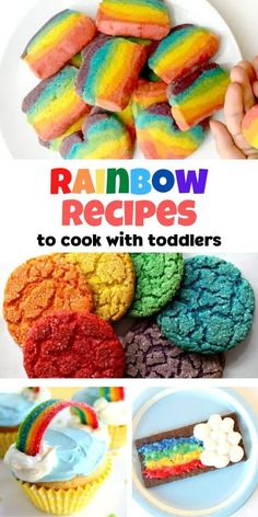 Simple and easy yummy rainbow recipes for treats and snacks to cook at home with your toddlers and preschoolers. Easy Snacks For Kids, Snacks To Make, Toddler Snacks, Kids Meals, Rainbow Snacks, Rainbow Food, Rainbow Activities, Preschool Snacks, Toddler Preschool