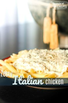 Zesty Italian Shredded Chicken is a yummy recipe you can put in the crock pot hours earlier then make into a fast and delicious meal! via Slow Cooker Recipes, Crockpot Recipes, Chicken Recipes, Pasta Recipes, Zesty Italian Chicken, Easy Family Meals, Family Recipes, Beef Recipes For Dinner, Turkey Recipes