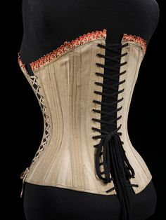 Maternity corset, 1875-99 England or Germany, V Museum  Back View  Maternity corsets of this time were not meant to shape a woman's body.  Rather, they existed because a corset, worn for shaping or not, was an essential part of a woman's underwear much like a bra is today.  This example laces on the sides to accommodate an expanding belly.