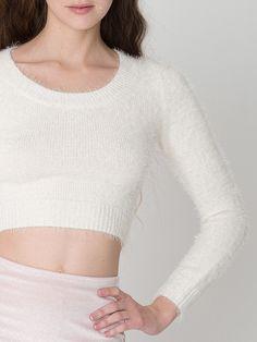 Fuzzy Cropped Sweater + Glitter High-Waist Velvet Mini Skirt. #AmericanApparel