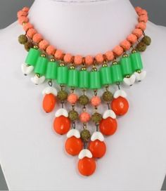 #Vintage #1950s #Orange & #Green #Lucite Bead Drop Bib #Necklace ➜ http://ebay.to/1OKAloh