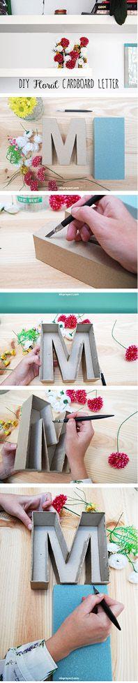 How to make a flower cardboard letter. Diy tutorial. Letras de cartón decorada con flores.