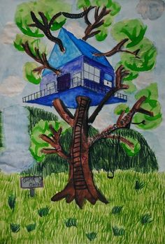 Tree House two point perspective. Idea 8th grade: have students create their dream house