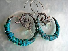 Aqua Silk Wrapped Ear Hoops .Tribal Style .Fabric & Wire Wrapped .Mermaid Colors, Dramatic, Boho Tribal. $50.00