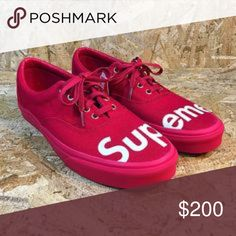 CUSTOM UNISEX Vans Era Red Mono Supreme They are made-to-order, so please allow ample processing time, I will get them out as quickly as possible. Thank you for your patience! My listed processing time is 7 - 14 Days. That is how long it takes to custom make your shoes. Please be patient and understand that they are done by hand (as are most custom listings) Usually they will arrive sooner than estimated! Pls don't email me the day after you ordered, asking if it shipped yet. You will…
