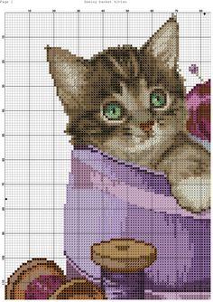 Sewing basket kitten segnalibri punto croce, gatti a punto croce, mot. Cat Cross Stitches, Cross Stitch Bookmarks, Cross Stitch Needles, Cross Stitch Art, Cross Stitch Animals, Counted Cross Stitch Patterns, Cross Stitch Designs, Cross Stitching, Cross Stitch Embroidery