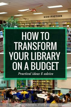 Course work ideas How to Transform Your Library on a Budget In my post for AASL Knowledge Quest, I share advice and ideas learned from transforming the library at Stewart Middle Magnet over the course of five years on a small budget. School Library Decor, Middle School Libraries, Elementary School Library, Public Libraries, Elementary Library Decorations, School Library Lessons, Library Lesson Plans, Classroom Libraries, Classroom Design