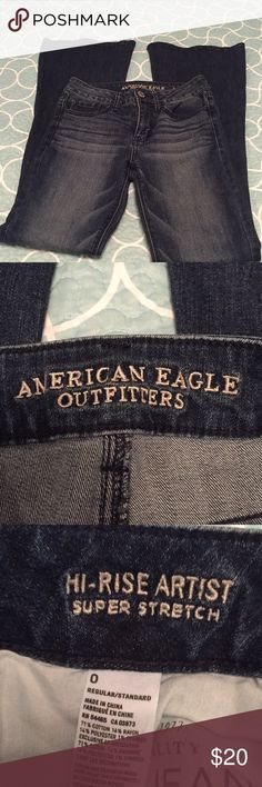 American Eagle Hi-Rise Artist jeans Excellent, like new condition.  Never worn! American Eagle Outfitters Jeans Flare & Wide Leg