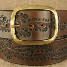 Wide Tooled Leather Belt  Floral Vine  Sized to por aosLeather, $60.00