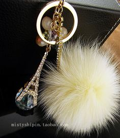 Crystal keychain car key chain oversized fox fur bag $26.00