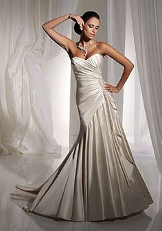 Beads Chapel Train A-line Taffeta Sweetheart Draping Wedding Dress picture 1