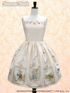 Peter Rabbit ™ jumper skirt Light Beige and white lolita dress Innocent World