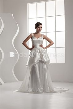 V-neck Knee-length Satin Corset-back Sleeveless Wedding Dresses