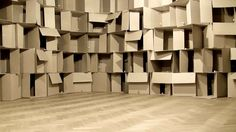 (z.web.only) 186 prepared dc-motors, cardboard boxes 60x60x60cm | Zimoun 2010