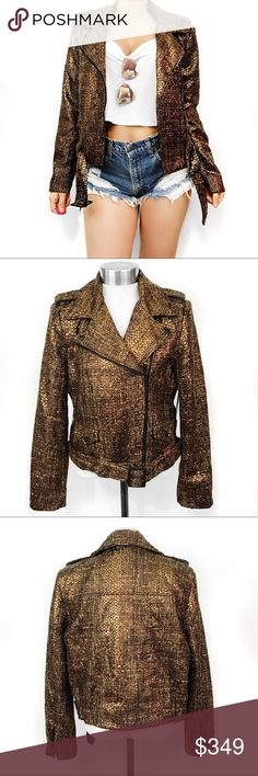Alice + Olivia tweed bronze moto jacket Love this!!! Super chic! I take all photos myself of the actual item. No trades. Always open to offers Alice + Olivia Jackets & Coats