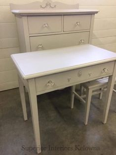 Bone White chalk painted furniture by Superior Interiors Kelowna. Using Superior Paint Co. chalk furniture and cabinet paint. Painted Vanity, White Chalk Paint, Chalk Paint Furniture, Recycled Furniture, Painting Cabinets, New Room, Small Spaces, Room Decor, Interiors