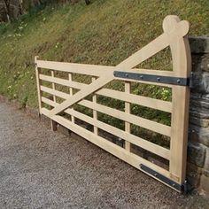 "ACONBURY ""hook"" design hinge style supporting the long diagonal brace  (OAK LEAF GATES)"