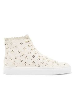 Simone Rocha - Laser-cut Leather High-top Sneakers - Neutral - IT37