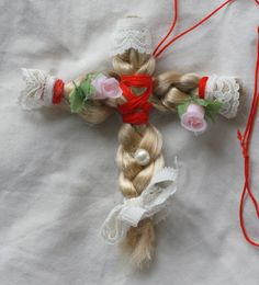 Cult Party Kei Braided Hair Cross Virgin Mary Necklace Lace roses. $12.00, via Etsy.