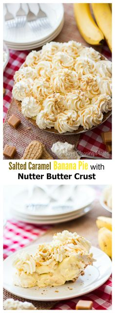 Salted Caramel Banana Pie with a killer Nutter Butter crust!!! ohsweetbasil.com