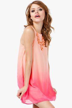Ombre Chiffon Shift Dress