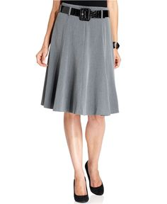 Grace Elements Skirt, Belted Flared Swing