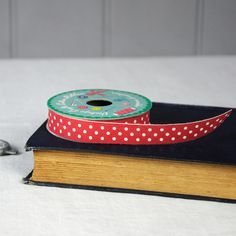 Vintage Crafts Cotton Ribbon Red & White Polkadots   dotcomgiftshop   Winter Sale Now On