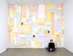 "German multimedia artist Katja Windau extended the life of her recent wall installation Die Zelle des Piet M (""The Cell of Piet M. Piet Mondrian, Art Public, Wall Installation, Art Installations, Multimedia Artist, Sculpture Painting, Modern Wall Art, Textured Walls, Pastel Colors"