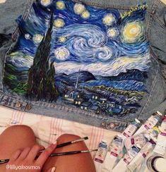 When your wardrobe as a Museum. mom's levi's starts a new life. denim painted denim art jeans levis vangogh jacket fashion handmade liliyakosmos vintage